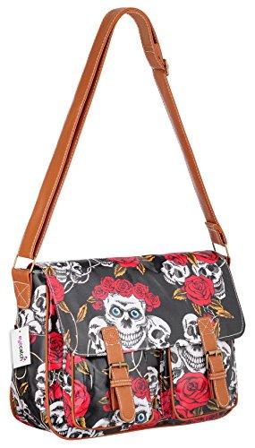 Cloth Oil Bag Womens Satchel TM Shoulder Messenger EyeCatch Black Roses Skull Ctq67pwOx