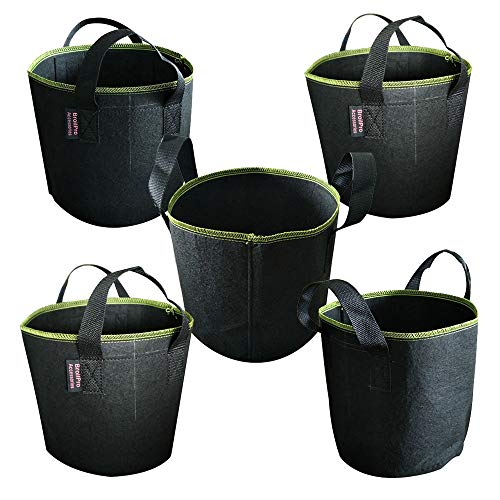 - BroilPro Accessories 5-Pack 3 Gallon Plant Grow Bags - Smart Thickened Non-Woven Aeration Fabric Pots Container with Strap Handles