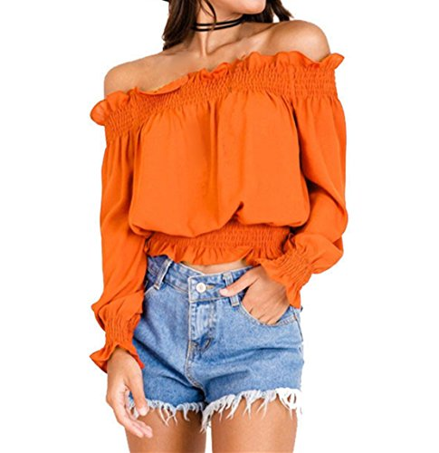 Women's Off Shoulder Crop Tops Blouses Lettuce Trim Casual Shirts New Summer Cold Silk Tunic by GYZCQ
