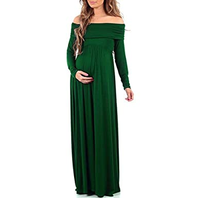 57dca9ed131b Women's Maternity Dress Gown Maxi Photography Off Shoulder Long Sleeve Props  Casual Pregnancy Nursing Long Dress at Amazon Women's Clothing store: