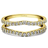 0.24 ct. Diamonds (G-H,I2-I3) Double Shared Prong Curved Ring Guard in Yellow Plated Sterling Silver (1/4 ct. twt.)