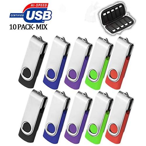 AreTop 4GB USB 10 Pack with Easy-Storage Bag, Premium Swivel Flash Drive 4 Gig USB2.0 Pen Drive Memory Stick for Computer Storage Thumb Drives Bulk Flash Drive Pack 10Pcs