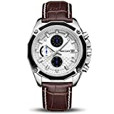 MEGIR Men Business Analog Chronograph Luminous Quartz Wrist Watches with Fashion Casual Brown Leather Strap Sport & Work Gift for Pilot Runner Racer (2015 Brown)