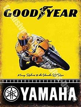 Yamaha Goodyear Carreras Motocicleta Kenny Roberts Metal/Cartel Para Pared De Acero - 20 x 30 cm