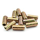 LQ Industrial 30pcs 25mm Furniture Screw-in Nut Carbon Steel Color Zinc Plated Bolt Fastener Connector Hex Socket Drive Threaded Insert Nuts for Wood Furniture Assortment Straight-Through 1/4''-20