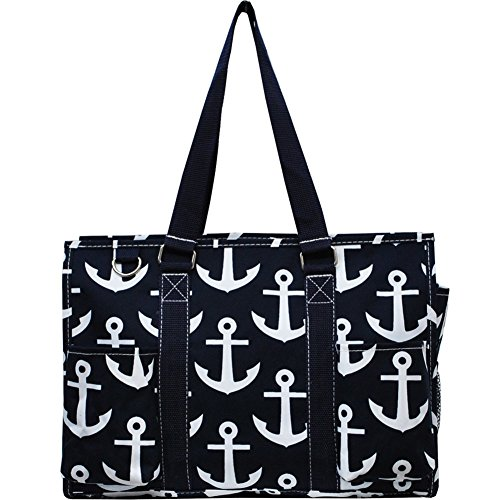 Cheap Sailor Anchor Print Zippered Caddy Organizer Tote Bag