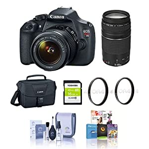 Canon EOS Rebel T5 DSLR Camera 2 Lens Kit w/EF-S 18-55mm f/3.5-5.6 IS II and EF 75-300mm f/4-5.6 III Lens - Bundle with 16GB SDHC Card, Camera Bag, Cleaning Kit, 58mm UV Filters, Pro Software Package