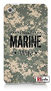Proud Marine Wife Desert Digital Camo Apple ipod 5 Ipod 5g Quality Hard Case Snap On Skin for ipod Gen 5 and 5, 5G (WHITE CASE)