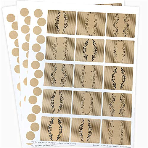 - 45 Vintage Apothecary Rectangle Poly Weatherproof Labels + 45 Round Stickers - for Essential Oil Bottle or Lip Balms by Rivertree Life