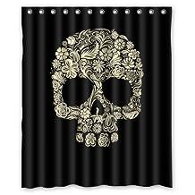 Custom Sugar Skull Mexican Shower Curtain 72x72 inch - Bathroom Decor(Fabric) by Qearl