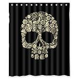 Custom Sugar Skull Mexican Shower Curtain 60'' x 72'' - Bathroom Decor(Fabric) by Qearl