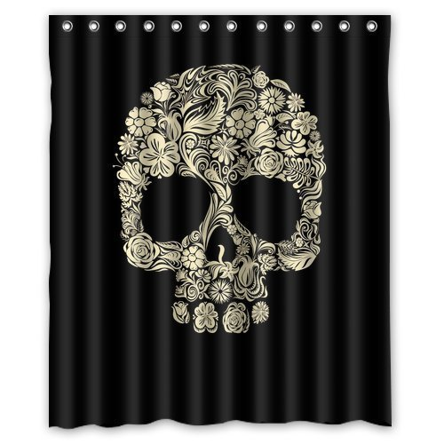 Custom Sugar Skull Mexican Shower Curtain 60'' x 72'' - Bathroom Decor(Fabric) by Qearl by Qearl