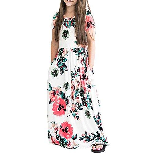 Conanhy Girls Long Dress Summer Dress Floral Printed Short Sleeve Maxi Casual Dress Empire Waist with Pockets