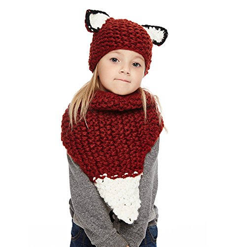 (Sumolux Winter Kids Warm Fox Animal Hats Knitted Coif Hood Scarf Beanies for Autumn Winter)