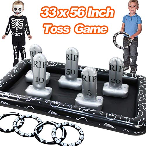Spooky Halloween Party Games (33 x 56 Inch Halloween Inflatable Tombstone Ring Toss Game, Fun Graveyard Halloween Party Game Outdoor Indoor Party Game Spider Toys Creepy Spooky Game for Kids Halloween School Party)
