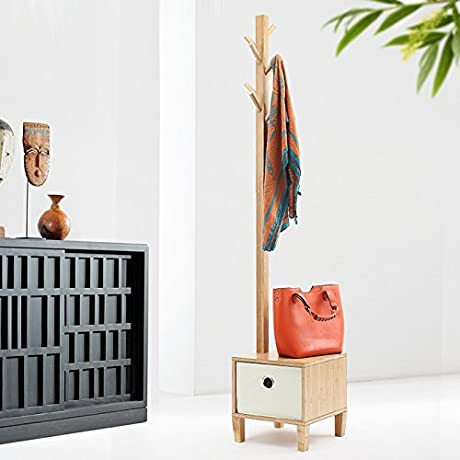 Creative Bedroom Floor Coat Rack Simple Clothes Hanger Style Living Room Solid Wood Corner Shelf