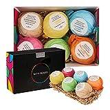 anjou bath bombs gift set, 6 x 3.5 oz scented colorless bath bombs kit, moisturizing with organic &