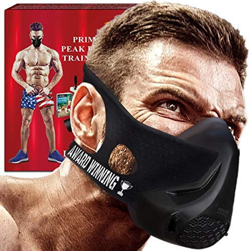 Breathing Training Fitness Mask- Oxygen Workout Mask - High Altitude Elevation Simulation- Peak Air Resistance - Peak Performance -For Running- Endurance-Cardio-Jogging- Gym- Free Gift Speed (Black)