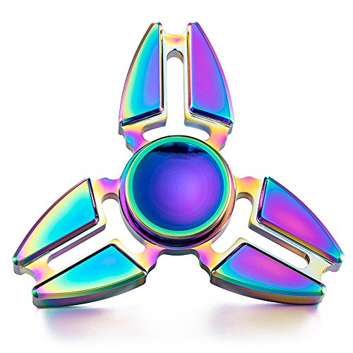 [Suiez Anti-Anxiety 2 Corners Crabs Tip Gyro Edc Rainbow Color Hand Spinner Interscrew Finger Decompression Puzzle Toys (H12)] (Rainbow Tip)