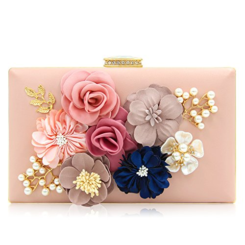 Milisente Women Flower Clutches Evening Bags Handbags Wedding Clutch Purse (Light Pink) by Milisente (Image #1)