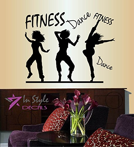 Wall Vinyl Decal Home Decor Art Sticker Fitness Dance Words Sign Dancing Girls Woman Dancers People Sports Room Removable Stylish Mural Unique Design