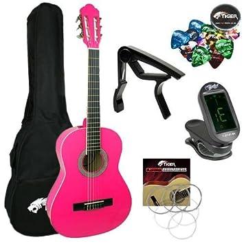 Jasmin – Juego de principiantes 3/4 tamaño rosa – paquete de guitarra clásica 3