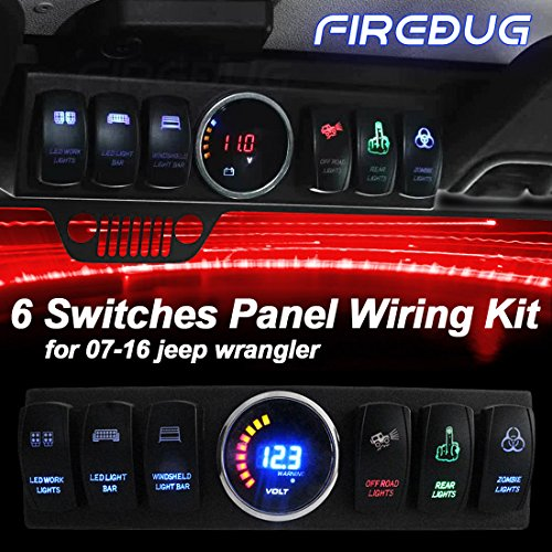 Firebug Jeep Wrangler Switch Control, Jeep Panel, Jeep Control System, Jeep Relay Switch, Jeep Top Lights Overhead 6 Switch Panel with Control and Source System, for JK JKU 07 - 17 Petrol Version (Jeep Jk Rocker)