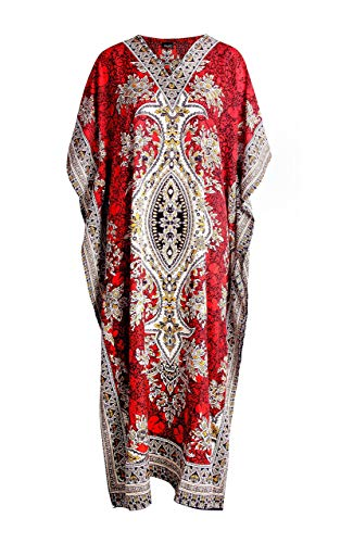 RK Essentials | Tribal Ethnic Print Long Kaftan | Plus Size (Red) -