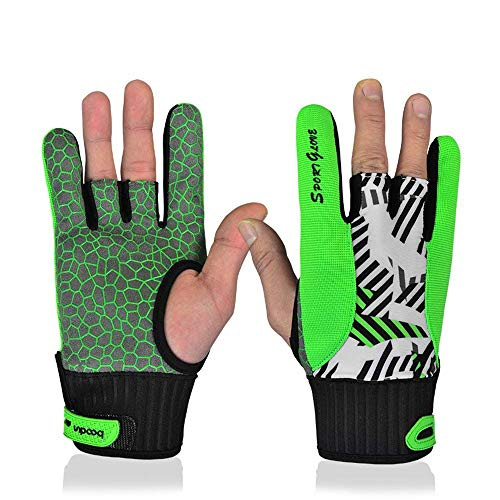 Fashion Sport Professional Silicone Anti-skid Bowling Gloves with Both Hands, Green, M