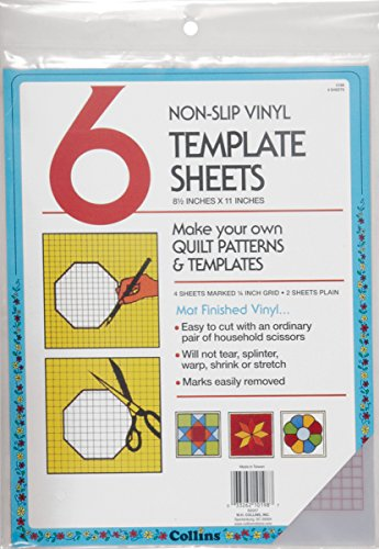 Collins COL198 6 Count Non Slip Vinyl Template Sheet, 8.5 x 11