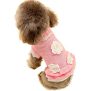 Joytale Turtleneck Flower Studded Pet Dog Sweater Apparel, Pink Female Girl Dog Winter Clothes, Fits Small Puppy Medium Breeds; Back Length 15.7""
