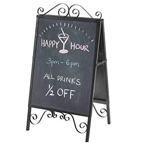 Design Metal Stand (Scrollwork Design A-Frame Metal Top Load Chalkboard, Poster Board Sidewalk Sign Display Stand, Black)