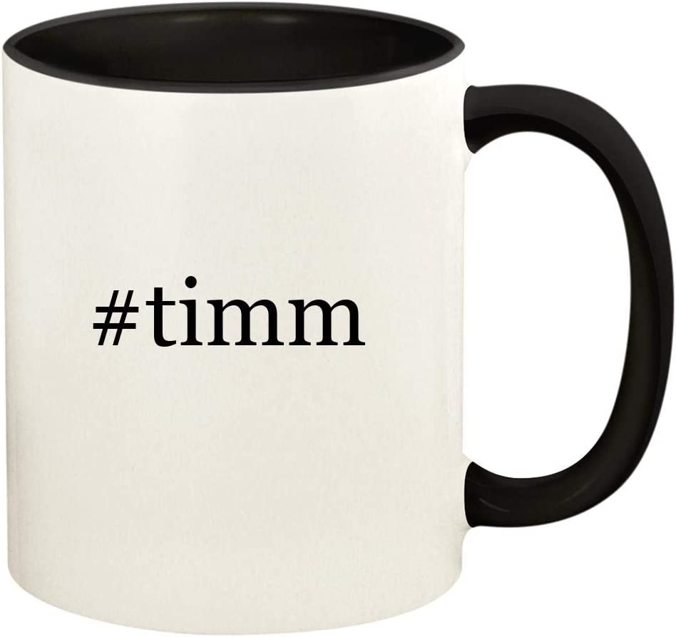 #timm - 11oz Hashtag Ceramic Colored Handle and Inside Coffee Mug Cup, Black