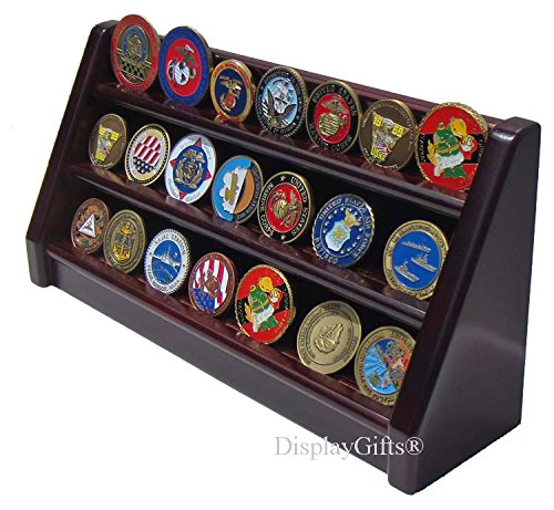 (Challenge Coin/Casino Chip Display Stand Rack Holder (Mahogany Finish, 3 Rows))