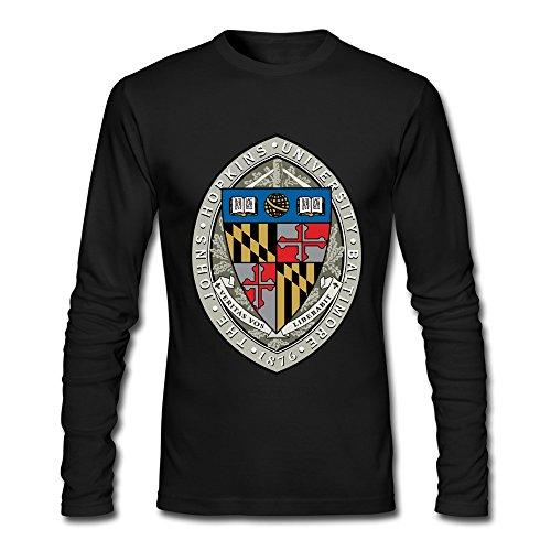 RUIFENG Men's Johns Hopkins University 1876 Logo Long Sleeve T-shirt Size M Black (Johns Hopkins Shirt)