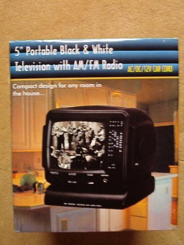 "Promo King 5"" Portable Black & White Television with AM/FM R"
