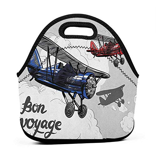 Convenient Lunch Box Tote Bag Going Away Party,Retro Airplane Poster Inspired Bon Voyage Lets Travel Fly Vintage Print, Blue Red Grey,hard shell lunch bag for men