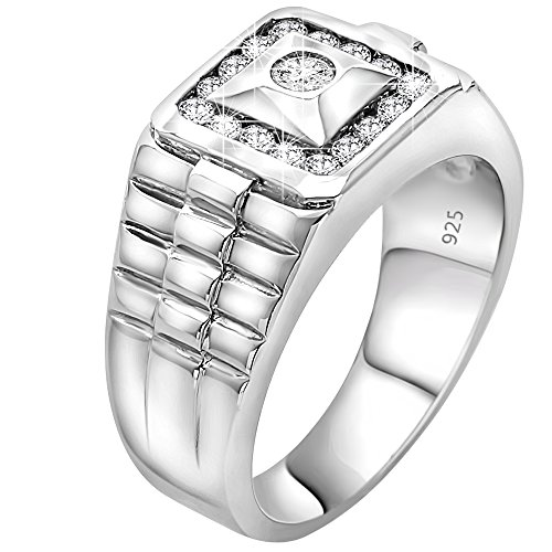 Platinum Pinky Rings (Men's Sterling Silver .925 Watch Band Style Pinky Ring Cubic Zirconia (CZ) Stones. Sizes: 6, 7)