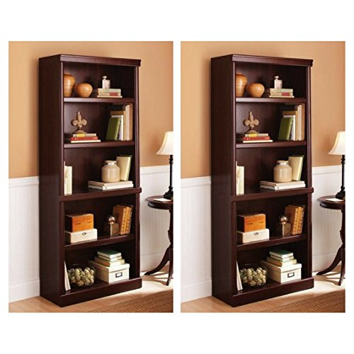 Better Homes and Gardens Ashwood Road 5-Shelf Bookcase, Cherry, Set of 2