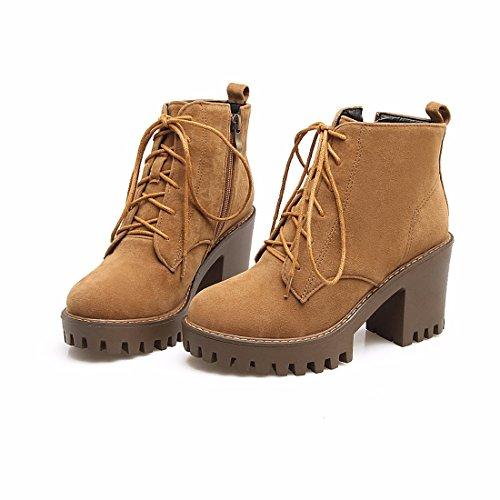 RFF Heeled Bottes Courtes Étanche en tirant Pour Automne High Tableau Womens Daim Femmes Chaussures Avant Yellow Big 39 Shoes Hiver Verges 0On0x6