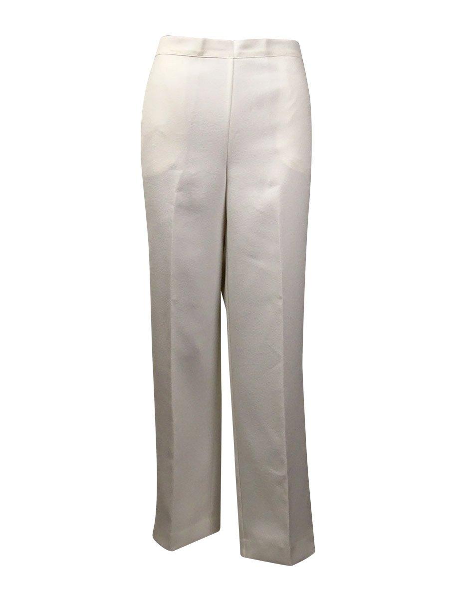 Alfred Dunner Womens Plus Comfort Waist Flat Front Dress Pants Ivory 18W