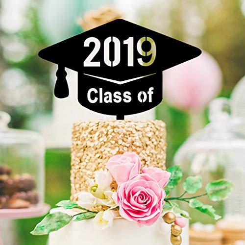 Tuscom Class of 2019 Cake Topper Congrats 2019 Graduation Party Decoration Sign Grad Party Decorations Supplies - High School, Graduation, College Graduate Cupcake Topper (Style 1)]()
