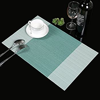 Place Mats,Famibay Heat Insulation PVC Placemats Stain Resistant Crossweave  Woven Table Mats For Kitchen Set Of 4 (4, Vertical Striped Turquoise)