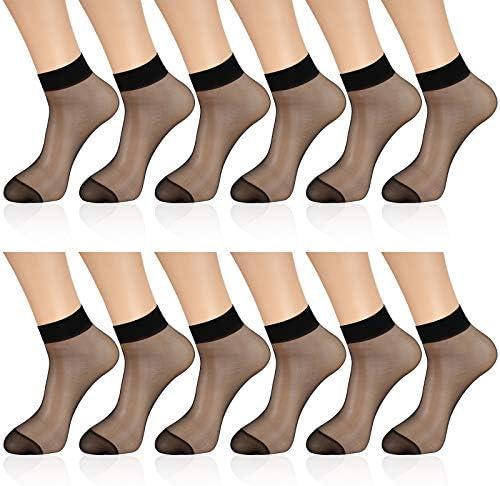 12 Pairs Sheer Ankle Socks Thin Nylon Transparent Ankle High Hosiery Socks Short Dress Stockings for Women Girls