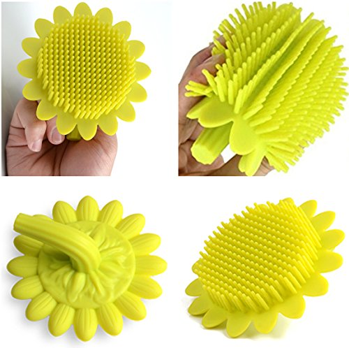 Baby Hair Body Bath Brushes(1pcs),Tiptop Shower Gel Scalp Scrubber,Shampoo Scalp Brushes, Multi-Use Soft Massage Brush,Soft Food Grade Silicone Baby Shower Toys,Sunflower With Handle,Yellow