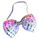 LED Light Up Flashing Sequin Bow Ties Tie - Various Colors by Mammoth Sales (Grey)