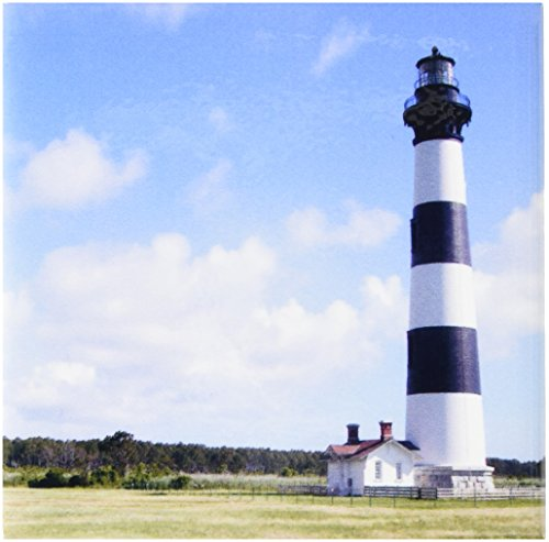 3dRose ct_93273_1 Nc, Bodie Island Lighthouse Keepers Quarters US34 LSE0014 Lynn Seldon Ceramic Tile, 4-Inch