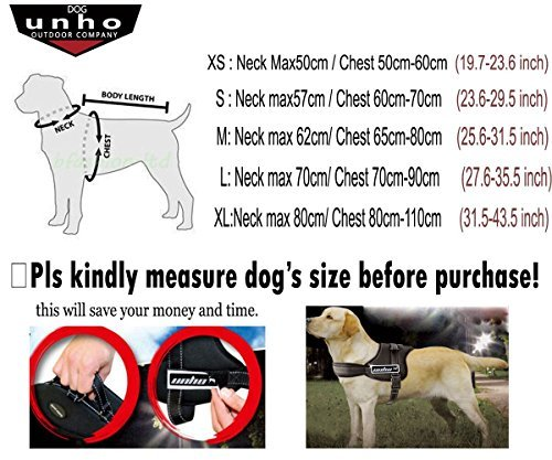 unho Dog Body Harness Padded Extra Big Large Medium Small Heavy Duty Vary from All Kinds Size (M) ()