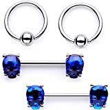 Body Candy Nipplerings Piercing Women 14G Stainless Steel 4Pc BCR Blue Skull Nipple Ring Set