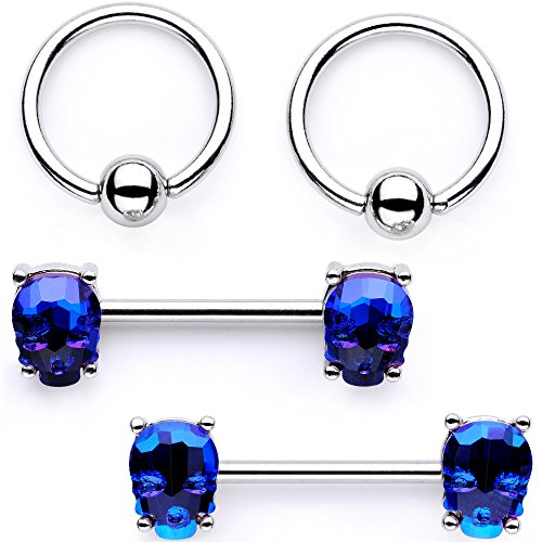 Body Candy Nipplerings Piercing Women 14G Stainless Steel 4Pc BCR Blue Skull Nipple Ring Set by Body Candy